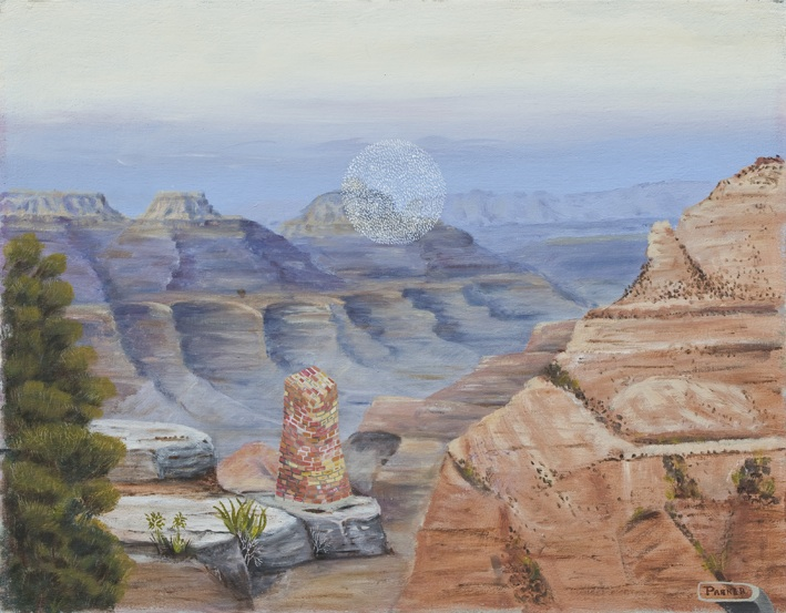JAKE WALKER  Grand Canyon  2009 oil on found painting 45 × 57 cm