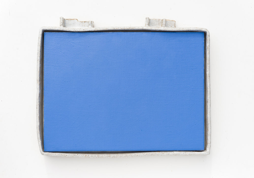 JAKE WALKER  Untitled  2015 oil on linen with glazed stoneware frame 37  × 45 cm