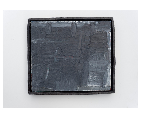 JAKE WALKER  Untitled  2015 oil on linen with glazed stoneware frame 38 × 44 cm