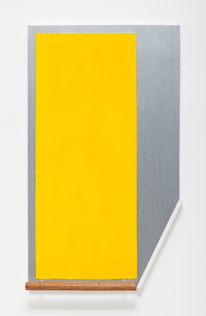 SIMON BLAU   Functional Yellow Painting  2011 Enamel on board with rail  80 × 48 cm