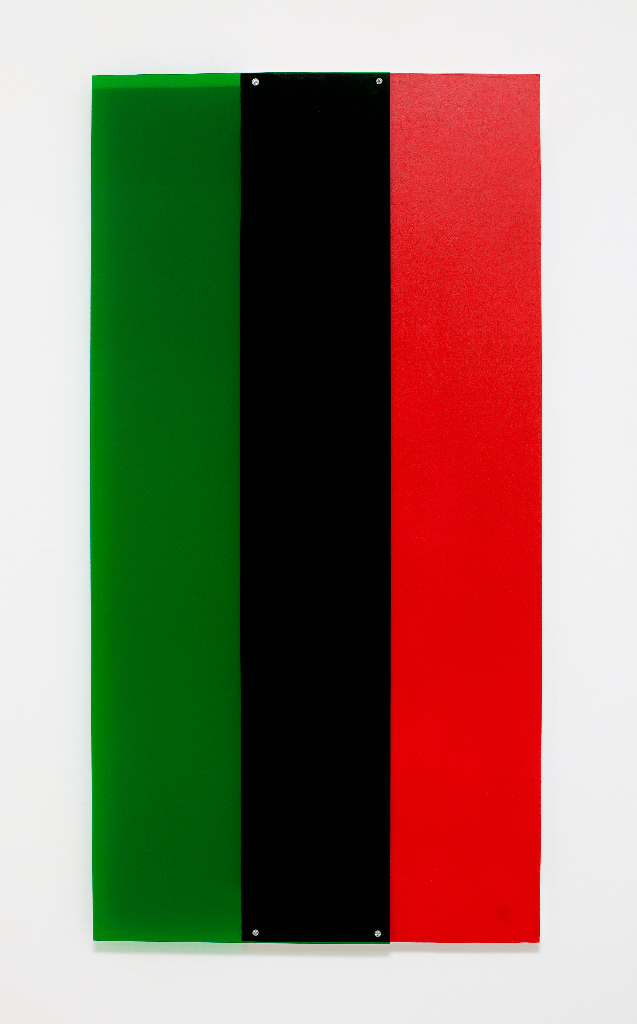 SIMON BLAU Green over red 2  2012  Perspex and acrylic over board 80 × 80 cm