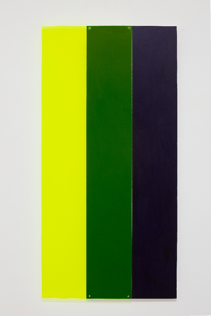 SIMON BLAU Yellow over purple  2011 acrylic and Perspex over plywood 122 × 60 cm