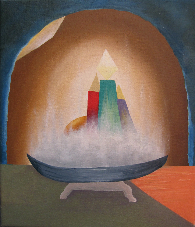 MICHELLE HANLIN Candle Fruit Rocket 2012 oil on canvas 40 x 30 cm $1,000