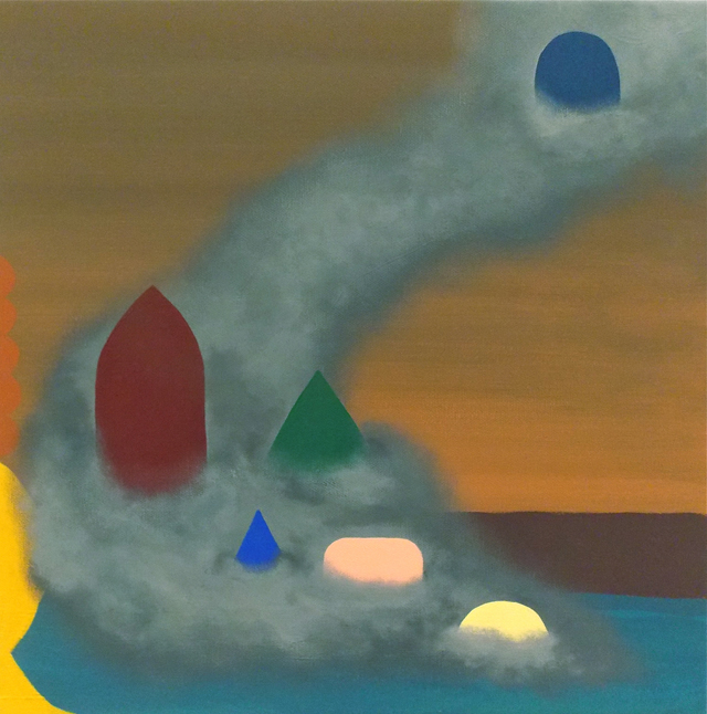 MICHELLE HANLIN  Smog Cascade Grave  2012 acrylic on canvas 38.5 × 38.5 cm
