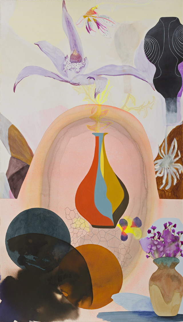 TONEE MESSIAH Exotics in the Scrub  2013 mixed media on paper 103 × 57 cm