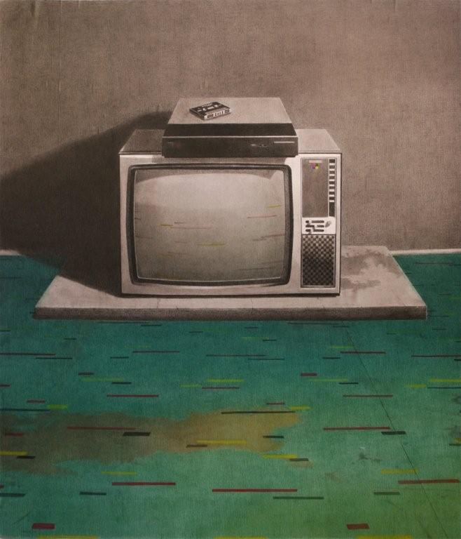 SIMON KENNEDY T.V.  2007 charcoal, coloured pencil and watercolour on paper 104 × 89 cm
