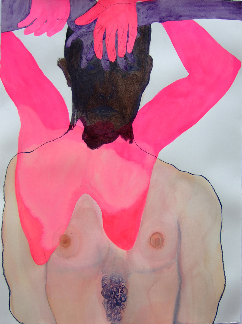 TONEE MESSIAH  Haemorrhaging  2007 charcoal, watercolour, pastel on paper 76 × 57 cm