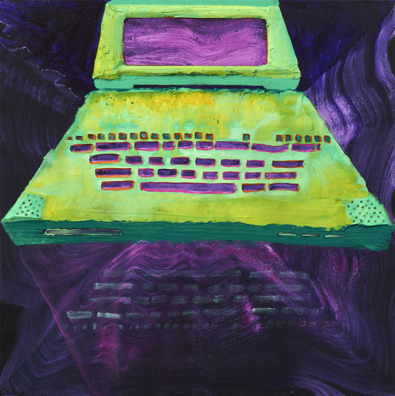 ANDRZEJ ZIELINSKI  Uploaded Green Laptop  2011 acrylic on linen 80 × 80 cm