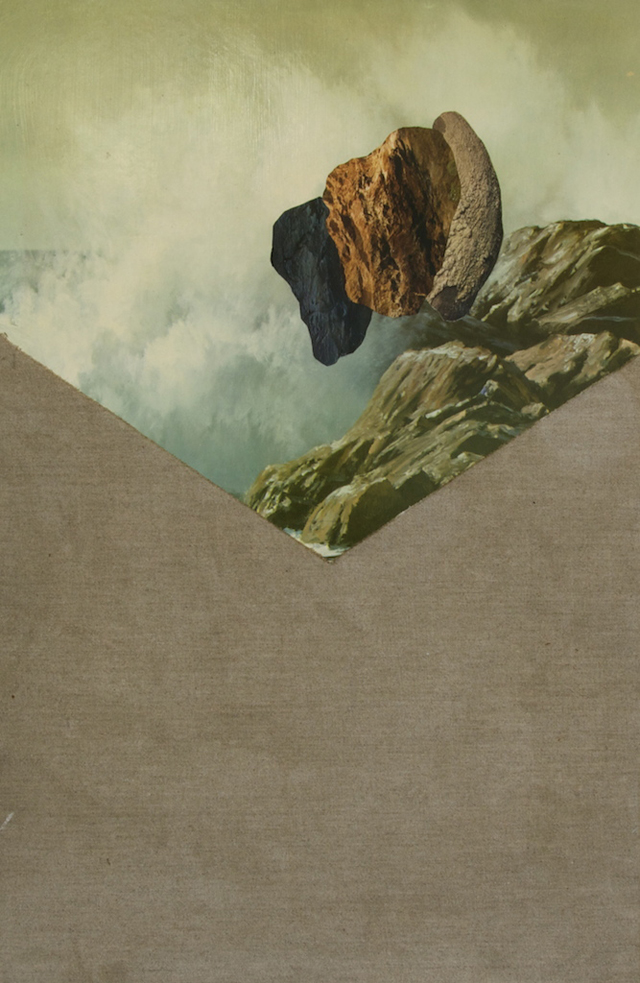 ELOISE KIRK  Gathering Oceans #2 2014  collage and linen on board 58 × 38 cm