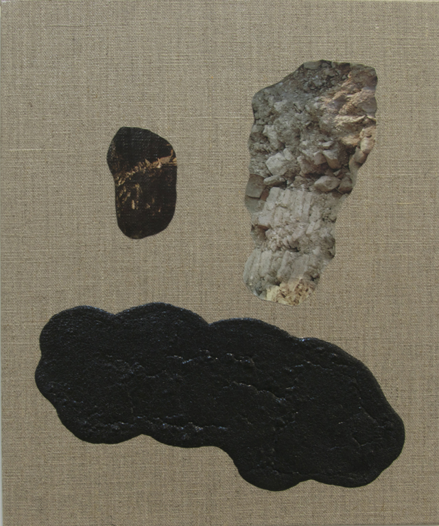 ELOISE KIRK  Sad Cloud  2014 collage, binder, resin and pigment on linen 25 × 30 cm