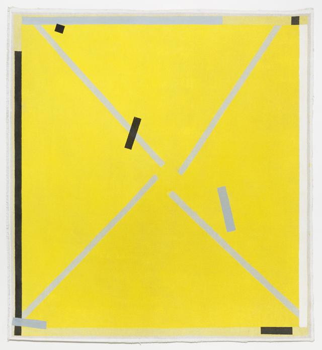 LYNNE EASTAWAY  Rough Yellow 1  2014 acrylic on heavy Belgian linen 112 ×103 cm