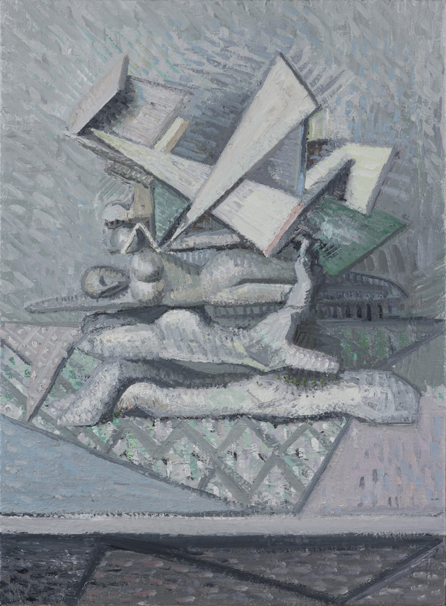 YVETTE COPPERSMITH  Going Backwards To Hit A Wall Of Zig-Zag Static  2014  oil on linen 76.5 ×56 cm