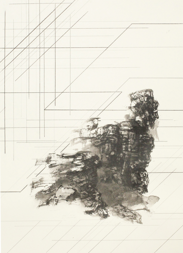 PETER NELSON  Ink mountain (The Lost Man)  #3 2014 Ink and graphite on paper 38 × 54 cm