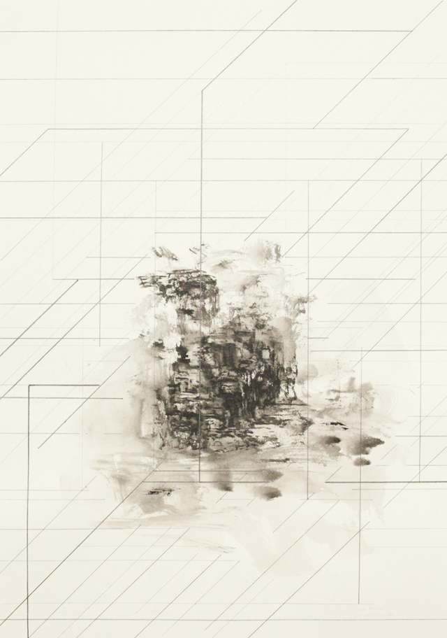 PETER NELSON  Ink mountain (The Lost Man)  #1 2014 Ink and graphite on paper 38 × 54 cm