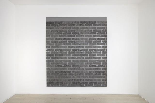 ANNA KRISTENSEN  Brick Wall   2014  silkscreen ink and acrylic on linen 240 × 208 cm