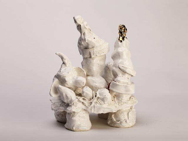 RAMESH MARIO NITHIYENDRAN  Ganesh  2014 white earthenware, glaze and gold lustre 47 ×36 ×25 cm