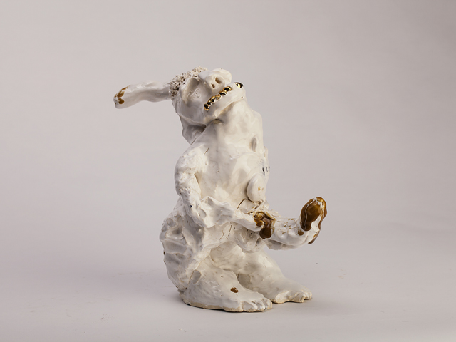 RAMESH MARIO NITHIYENDRAN  Dickhead (With Grills)  2014 white earthenware  glaze, ceramic underglaze pencil and gold lustre 42 ×26 ×17 cm