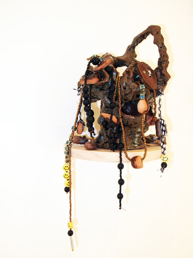 SARAH CONTOS  Elephant  2014 glazed earthenware, kanga, leather, bleached velveteen, elastic, beads, thread 45 × 20 × 20 cm