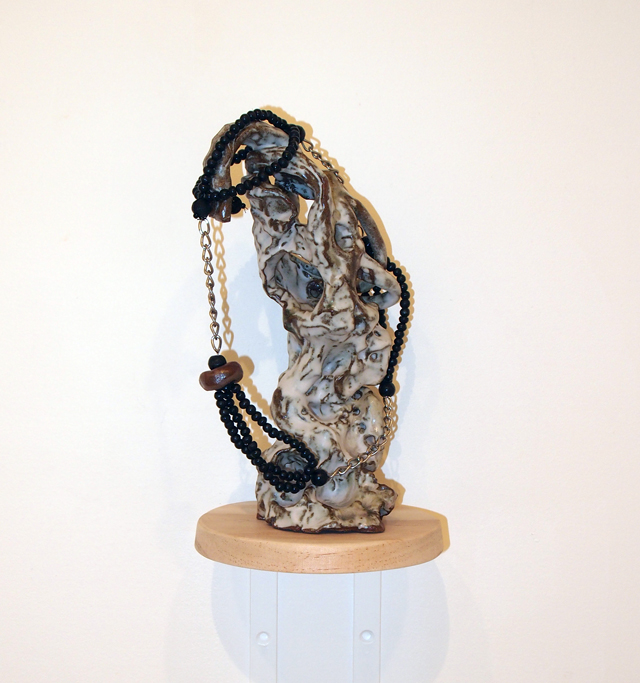 SARAH CONTOS  Falcon  2014 glazed earthenware, wooden beads, glass beads, chain, thread 27 × 17 × 13 cm