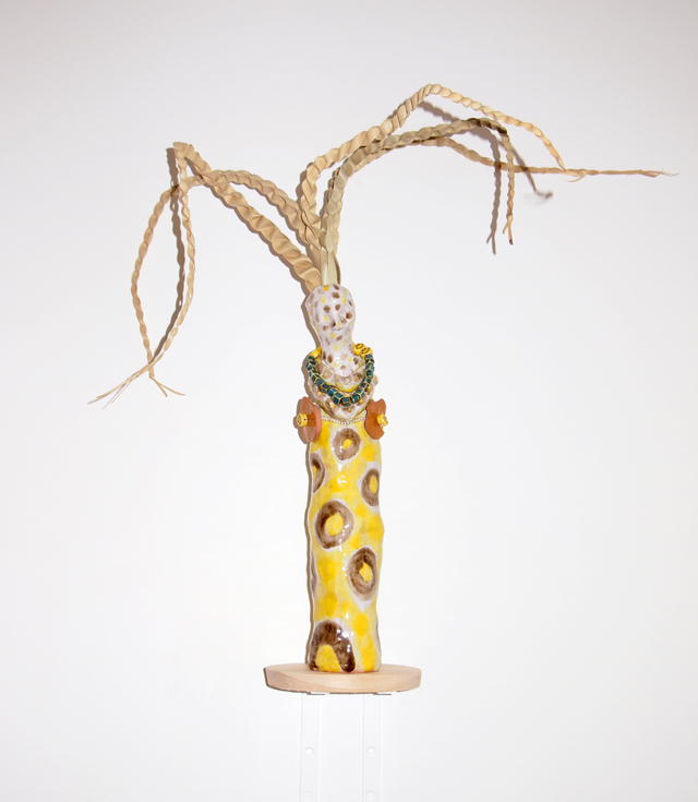 SARAH CONTOS  Giraffe (vase)  2014 glazed earthenware, palm leaf, ceramic beads, thread  40 × 9 × 9 cm