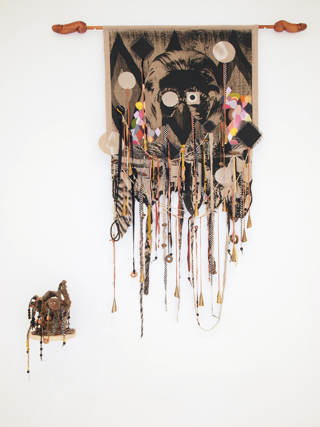 SARAH CONTOS  Heavily weighted performance instincts  2014  screenprint, oil and collage on linen, bleached velveteen, kanga, leather, jingle cones, glazed earthenware, chain, elastic, beads, thread, wood 140 × 120 cm