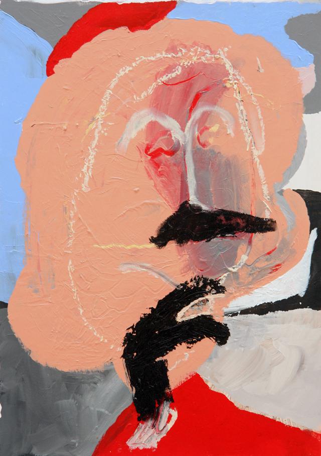 MATTHEW HOPKINS  Listening Subject #1  2014 acrylic and oil stick on wood 40 ×28.5 cm
