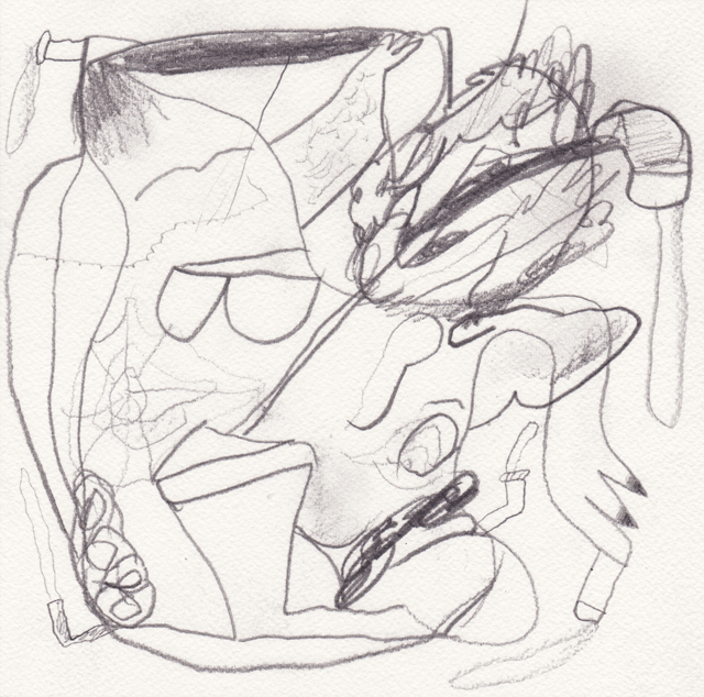 MATTHEW HOPKINS  Pipe Smoker #2  2013 pencil on 100% cotton paper 20 × 20 cm