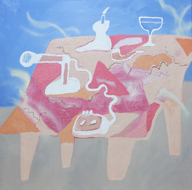 MATTHEW HOPKINS  Sound Maker's Table  2013 oil, enamel and chewing gum on linen 84 ×84 cm