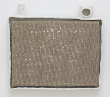 JAKE WALKER  Athfield framed painting 3  2013 gesso on linen in glazed stoneware artist's frame 35 × 36 cm