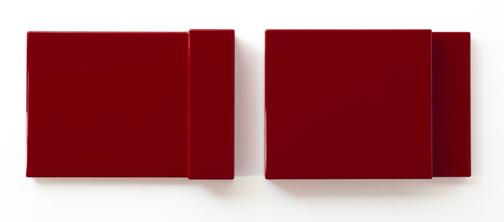 SUZIE IDIENS  Untitled (Red Pair)  2011 MDF, polyurethane (high gloss) 36 x 51 x 8 cm (each panel)