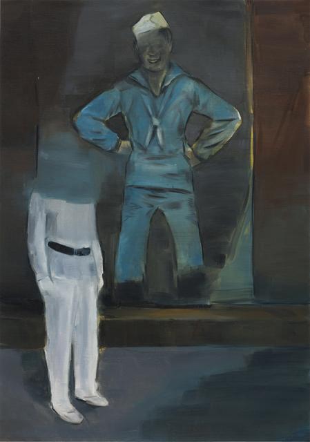 JELENA TELECKI  Papa (Marin Malgr é  Lui ) 2012 oil on canvas paper 59.4 ×42 cm