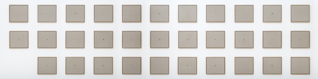 WHAT  Liquid Data   2013 marble and gesso on linen in Tasmanian oak frame, 32 panels 48 × 52.5 cm (each)