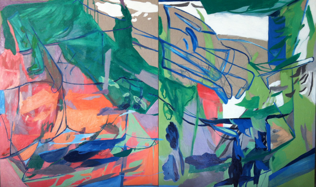 AMBER WALLIS  Sillman / Entangled Floating Bed  2013 (diptych)  oil on linen 120 × 200 cm