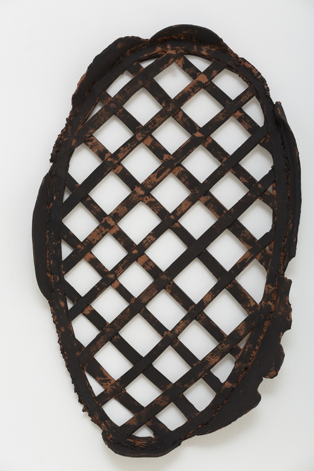 PAUL WILLIAMS  Lattice with frame  2013  hand-built earthenware with underglaze  43 × 26.5 × 4.5 cm