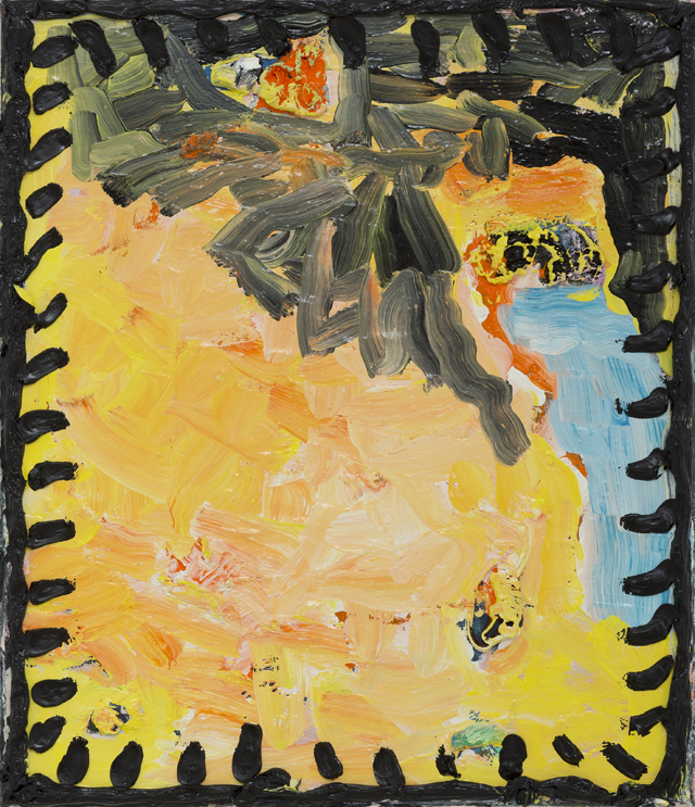 PAUL WILLIAMS  Yellow painting with frame  2013  oil on linen 35.5 ×30.5 cm