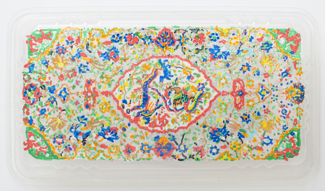 SARAH GOFFMAN  Persian Carpet 1  2013 Poko pen on PET plastic 3 × 13 × 23 cm