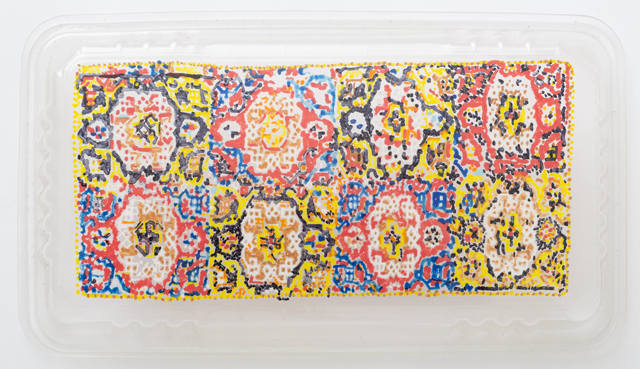 SARAH GOFFMAN  Persian Carpet 2  2013 Poko pen on PET plastic 3 × 13 × 23 cm