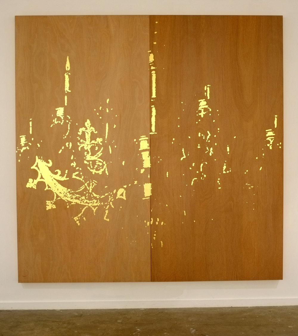 WHAT  And his wife  2012 23 karat gold on plywood 244 × 244 cm