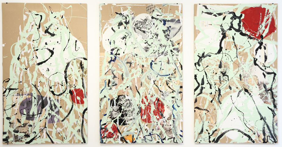 MICHAEL TAYLOR  It's Only A Paper Moon  1999 mixed media on cardboard (3 panels) 107 × 191 cm