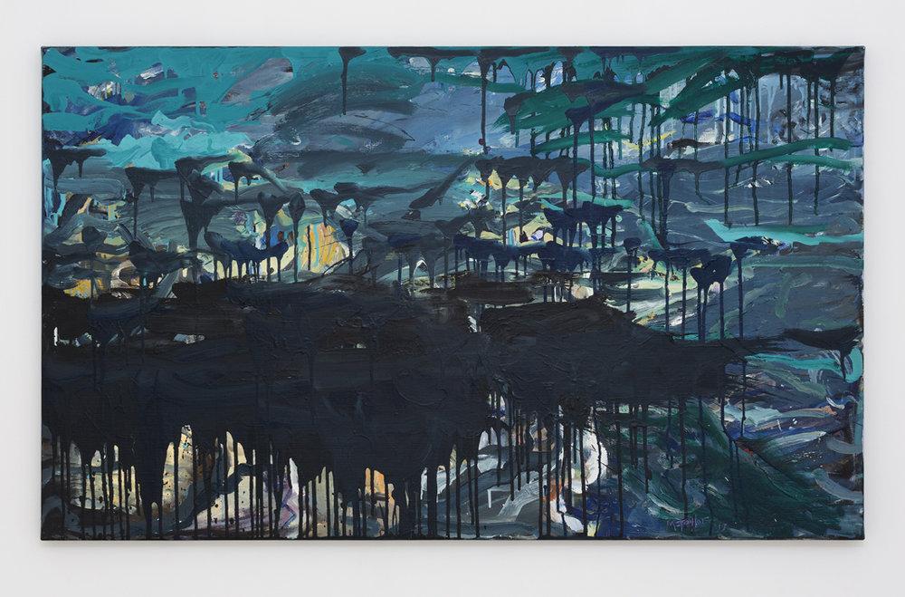 MICHAEL TAYLOR  Dark Shoreline  2017 oil on canvas 91 × 152 cm