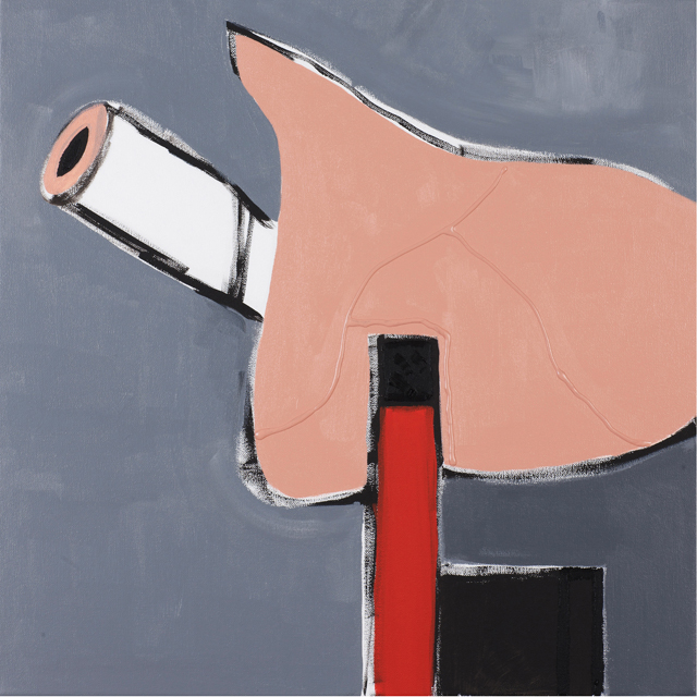 MATTHEW HOPKINS  Descending pipe smoker  2012  acrylic, gel medium and oil on canvas 56 × 56 cm