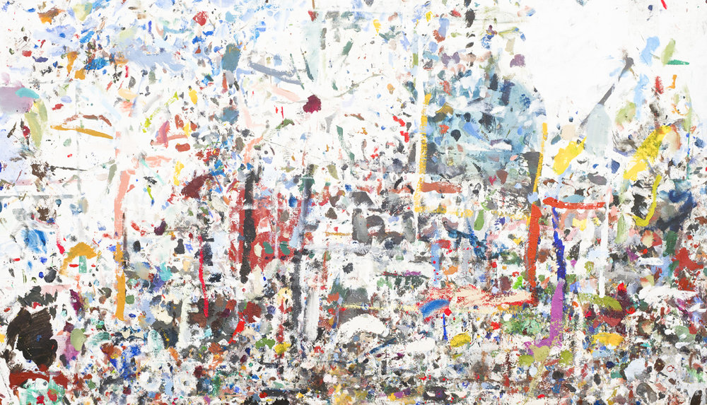 JAKE WALKER  Desktop Painting  2013–15 mixed media on linen 110 × 175 cm
