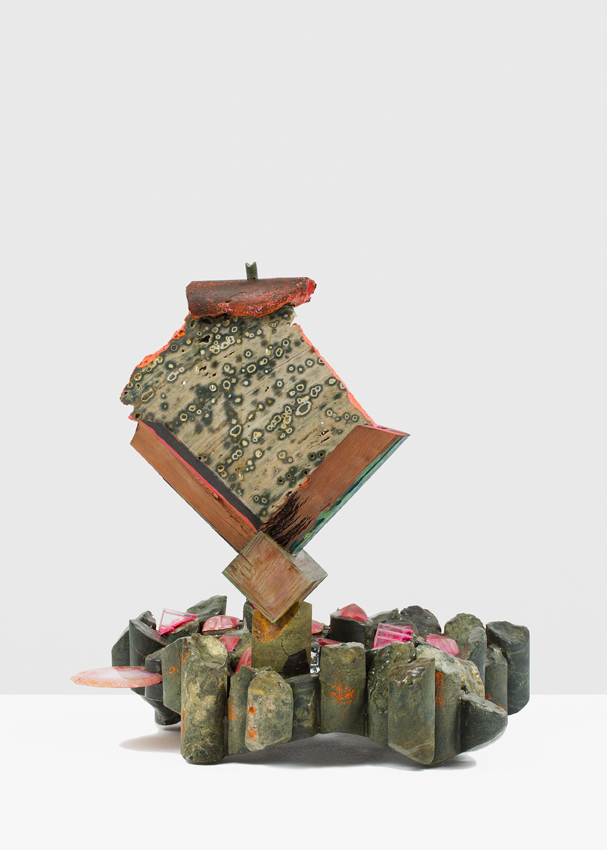 ANDRZEJ ZIELINSKI  Cluster Analysing?  2016 core samples from mining exploration in New South Wales, orbicular jasper, river red gum wood, perspex, agate, epoxy, acrylic paint 39.5 × 37 × 23 cm