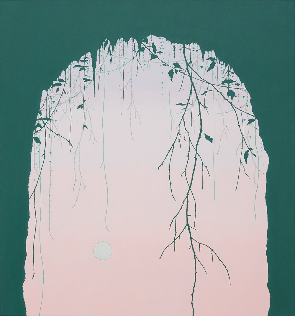 VIV MILLER  Cave and Moon  2015 Oil, pencil and enamel on canvas 140 × 130 cm