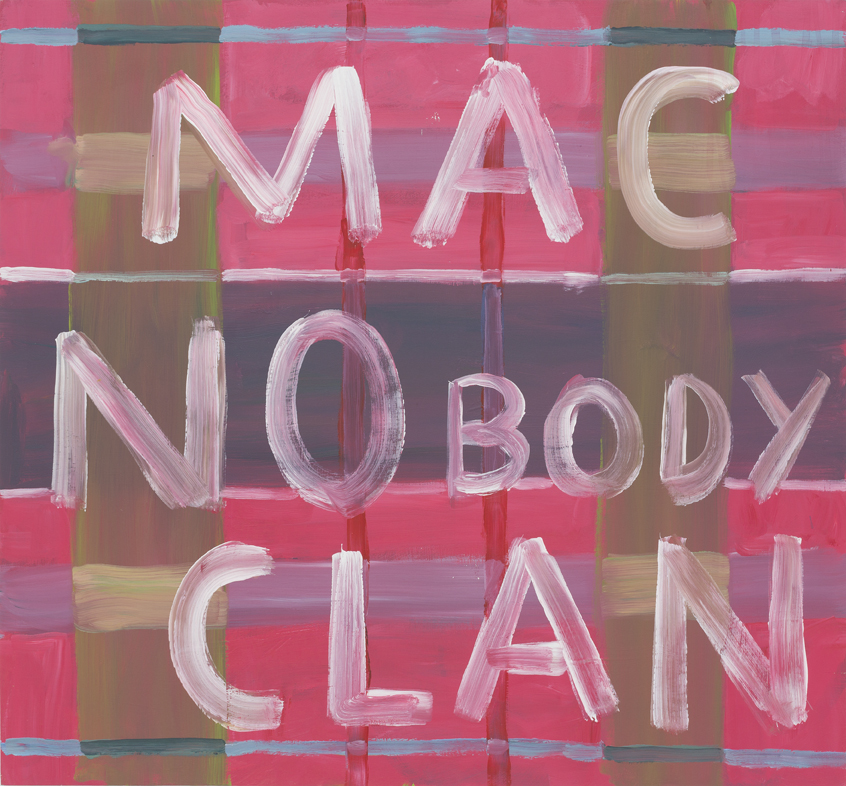 SIMON BLAU  MacNobody Clan  2015  acrylic on board 65 × 70 cm