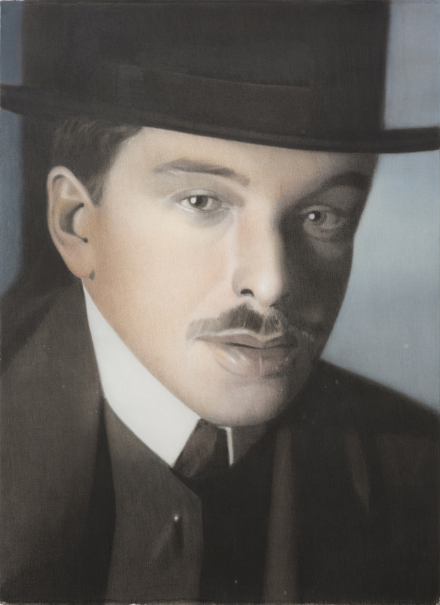 SIMON KENNEDY  From photograph of E L Kirchner circa 1910s  2015 charcoal, pastel and ink on paper 76 × 56 cm
