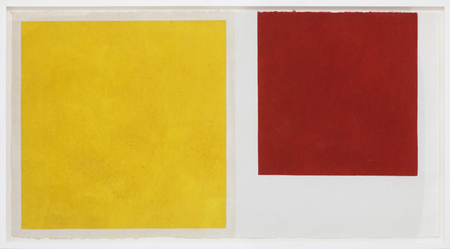 LYNNE EASTAWAY  Red / Yellow squares  2010 gesso and acrylic gouache on kozo paper 74 × 141 cm (paper) / 82 × 149 cm