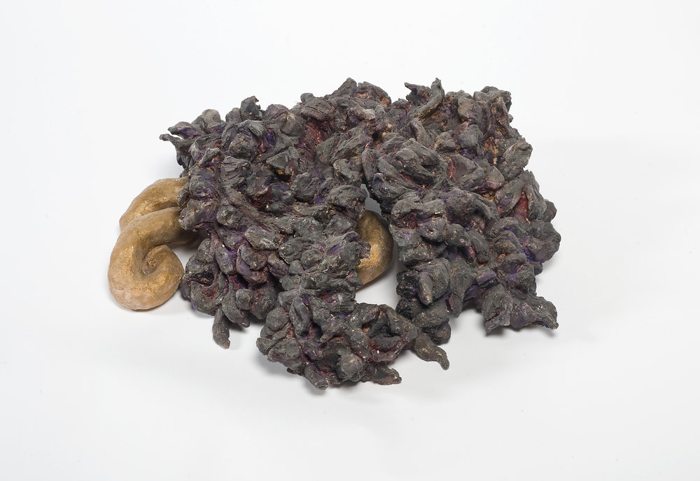 NAOMI ELLER  Purple foliage with Gold Snake  2013  Ceramic, oil paint, shellac and wax 50 x 30 x 44 cm
