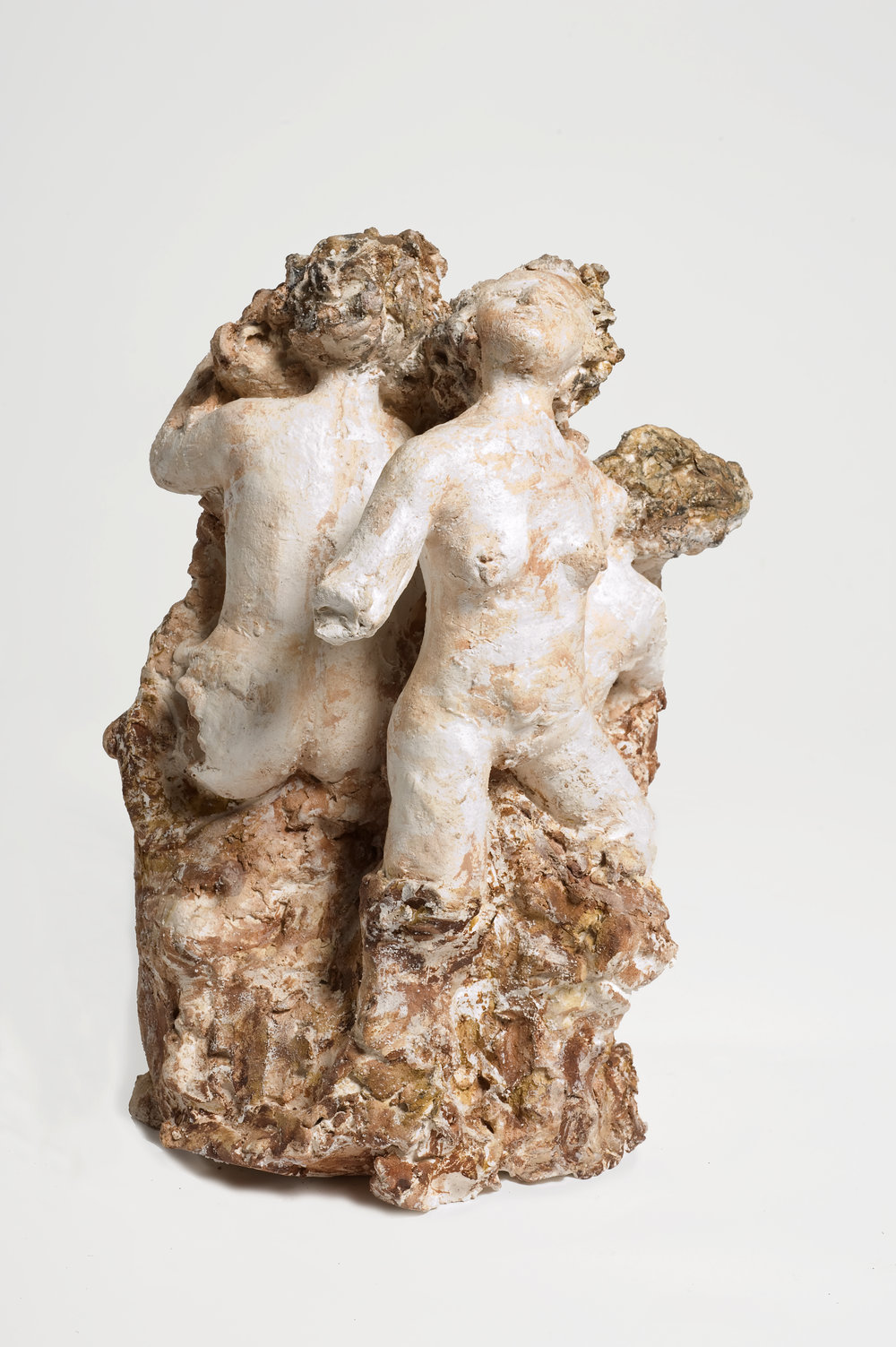 NAOMI ELLER  The Three Fates I  2012 Ceramic, oil paint, shellac and wax 29 x 26 x 18 cm