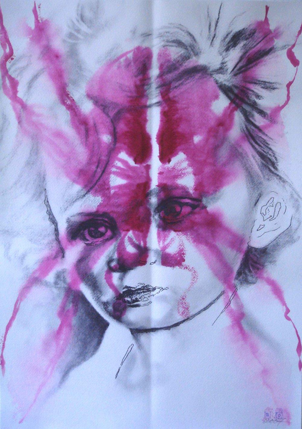 NANA OHNESORGE  Nature Studies #4    Watercolour, pencil, graphite& acrylic paint on paper 59.4 ×42 cm